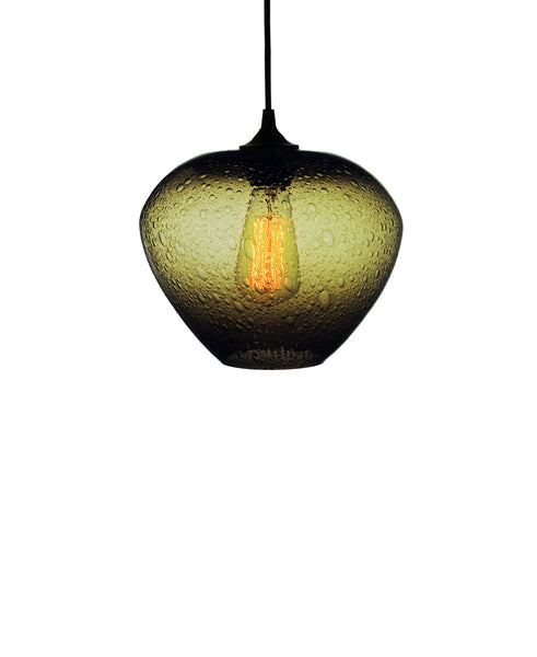 rounded hand blown glass pendant lamp in warm olive