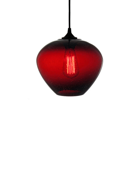 rounded hand blown glass pendant lamp in seductice ruby red