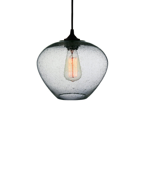 rounded modern hand blown transparent glass pendant lamp