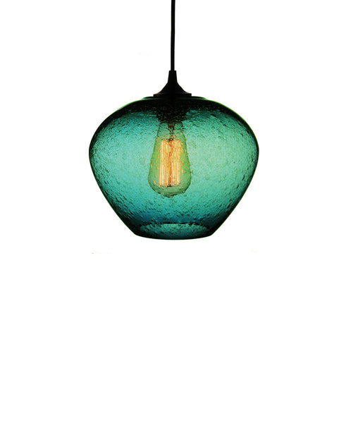 rounded hand blown glass pendant lamp in tranquil turquoise