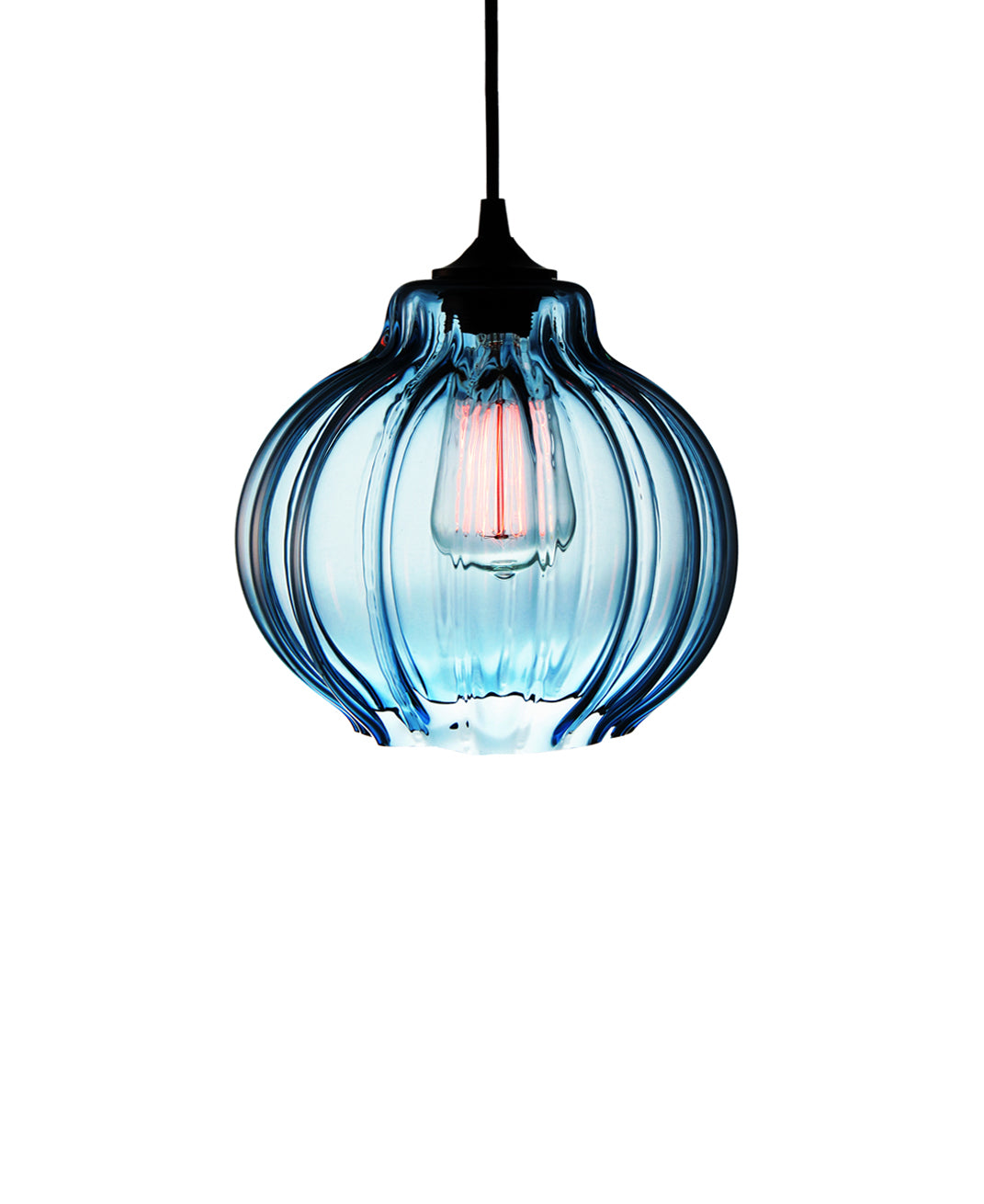 Ribbed handblown modern glass pendant lamp in luscious sea blue