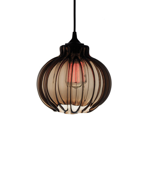 Ribbed handblown modern glass pendant lamp in luscious warm brown