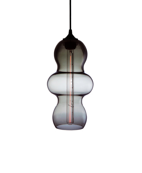 curvesome hand blown modern glass pendant lamp in smoke gray
