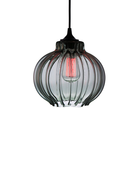 Ribbed handblown modern glass pendant lamp in luscious smoke gray