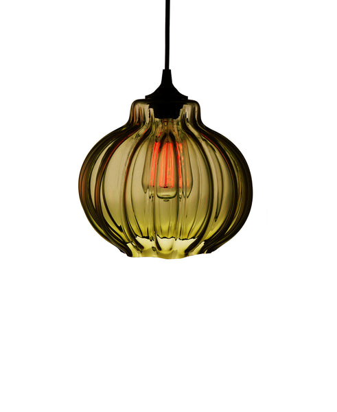 Ribbed handblown modern glass pendant lamp in luscious warm olive
