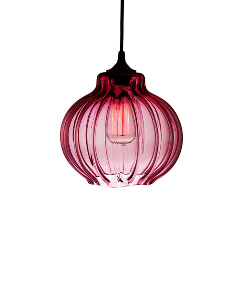 Ribbed handblown modern glass pendant lamp in luscious sexy pink