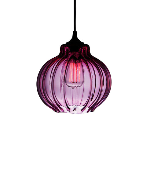 Ribbed handblown modern glass pendant lamp in luscious sophisticated amethyst