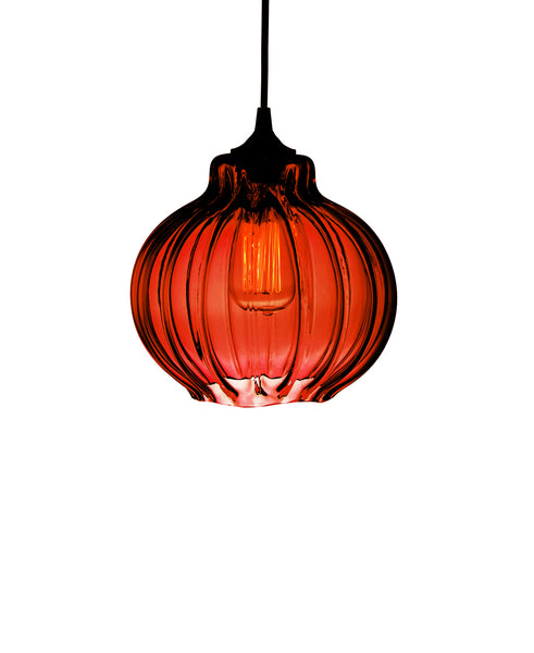 Ribbed handblown modern glass pendant lamp in luscious ruby red