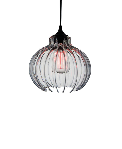 Ribbed handblown modern glass pendant lamp in seductive transparent glass