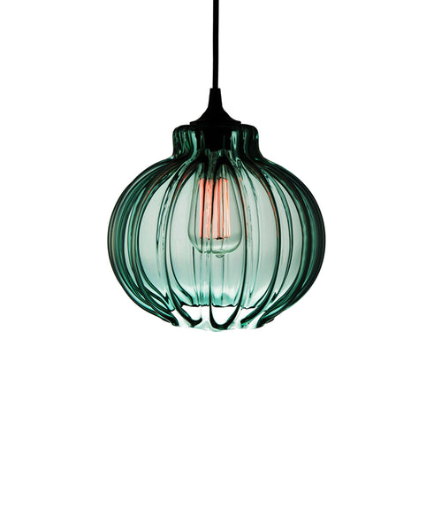 Ribbed handblown modern glass pendant lamp in tranquil turquoise
