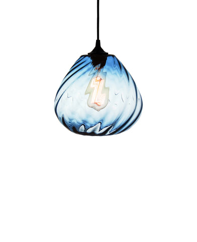 Patterned contemporary hand blown glass pendant lamp in sea blue