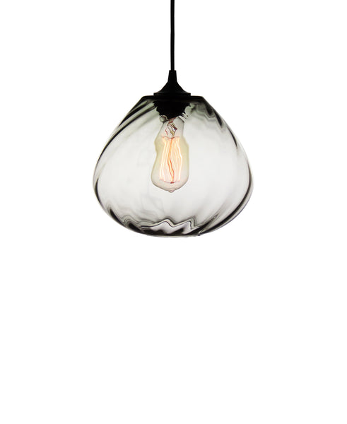 Patterned contemporary hand blown glass pendant lamp in seductive smoke gray