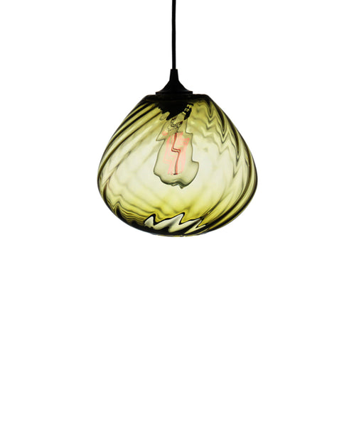 Patterned contemporary hand blown glass pendant lamp in antique olive