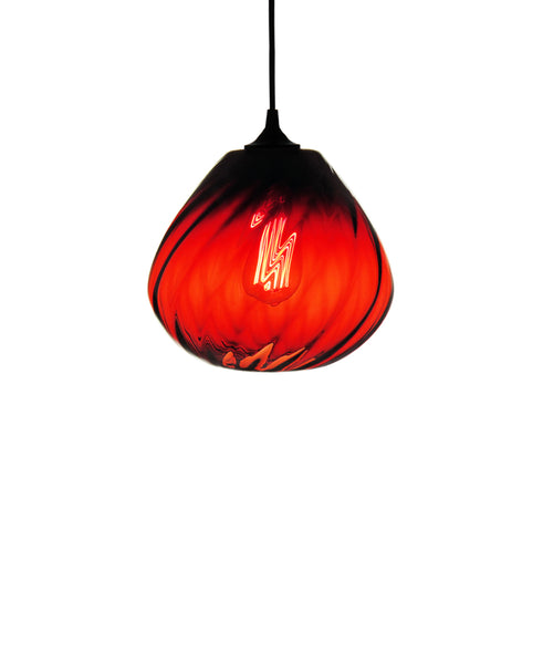 Patterned contemporary hand blown glass pendant lamp in seductive ruby red