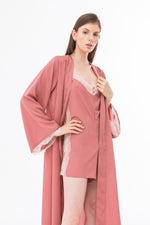 Playsuit Lace and Cape in Silver Pink