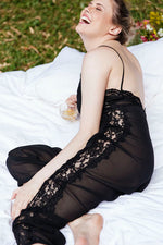 Jumpsuit Lace in Black Silk
