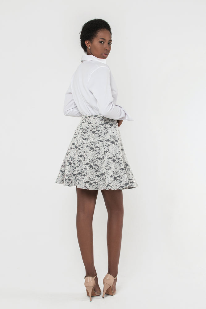 Load image into Gallery viewer, Denim Soutache Lace Skirt