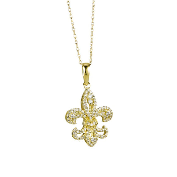 10K Yellow Gold Diamond Fleur de Lis Pendant