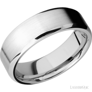 14K White Gold 7mm Beveled Wedding Band