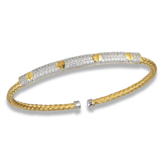 Sterling & Yellow Gold Plated CZ Fashion Bangle