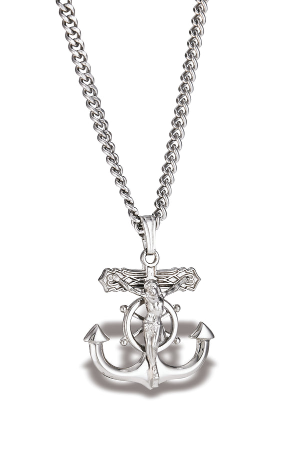 Sterling Silver Fisherman's Cross Pendant 22mm