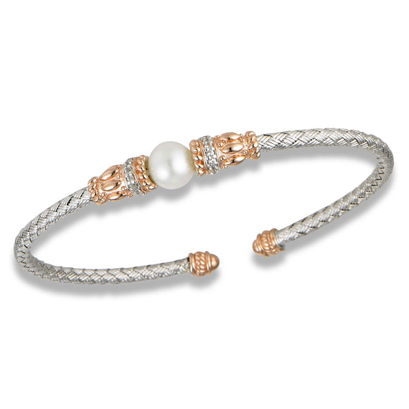Sterling & Rose Gold Plated Pearl Fashion Bangle
