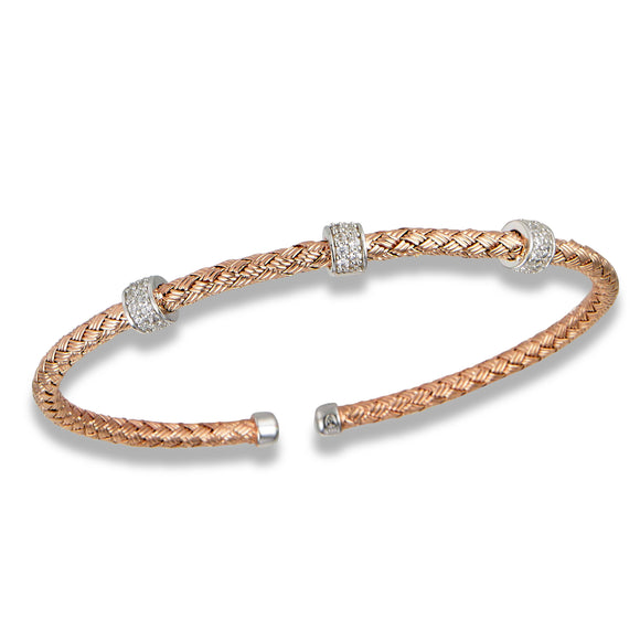 Sterling & Rose Gold Plated CZ Fashion Bangle