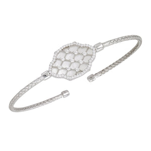 Sterling Silver & CZ with Mother of Pearl Bangle Bracelet