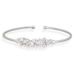 Sterling Silver & CZ Baguette Bar Bangle Bracelet