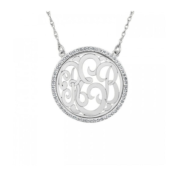 Diamond Halo Monogram Necklace