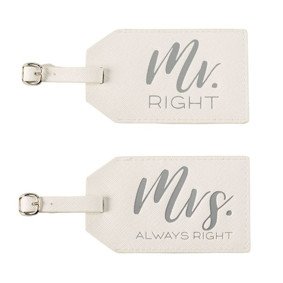 Mr. & Mrs. Leather Luggage Tag Set