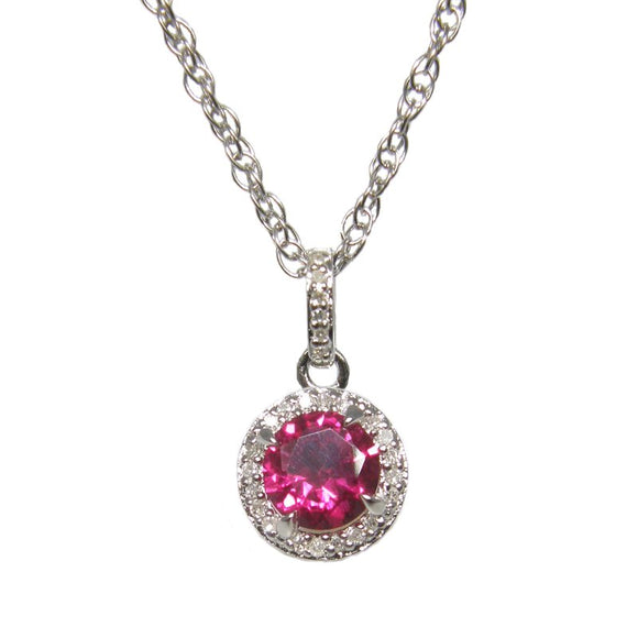 Sterling Silver Ruby & Diamond Pendant