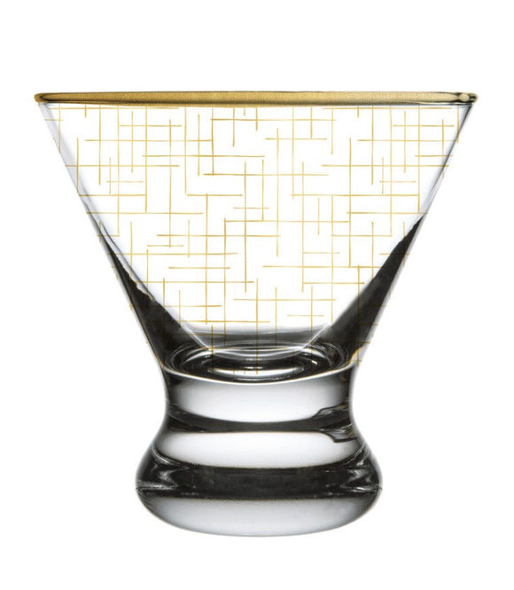 Gold Hatch Martini Glass