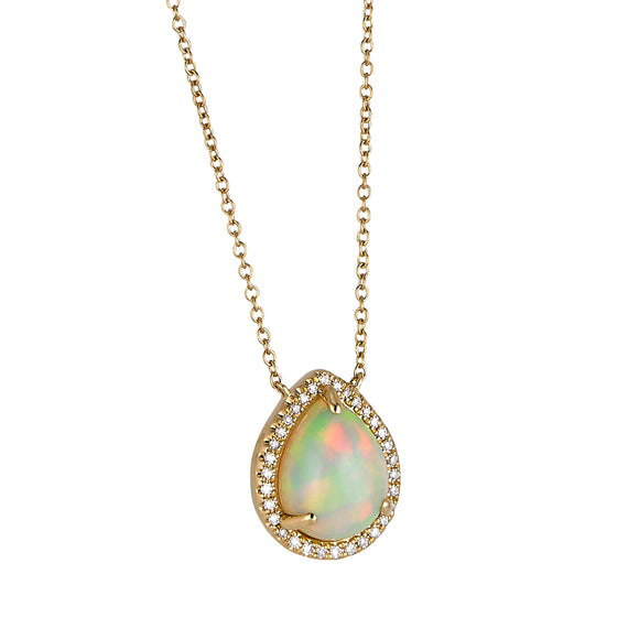 14K Yellow Gold Diamond and Opal Necklace