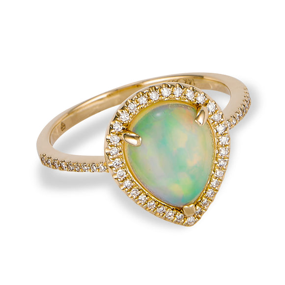 14K Yellow Gold Diamond and Opal Ring
