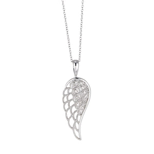 Sterling Silver Diamond Angel Wing Pendant
