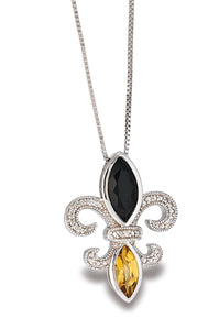 Fleur de Lis Onyx and Citrine Diamond Pendant
