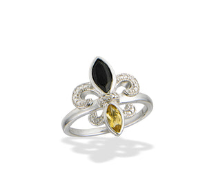 Fleur de Lis Onyx and Citrine Diamond Ring
