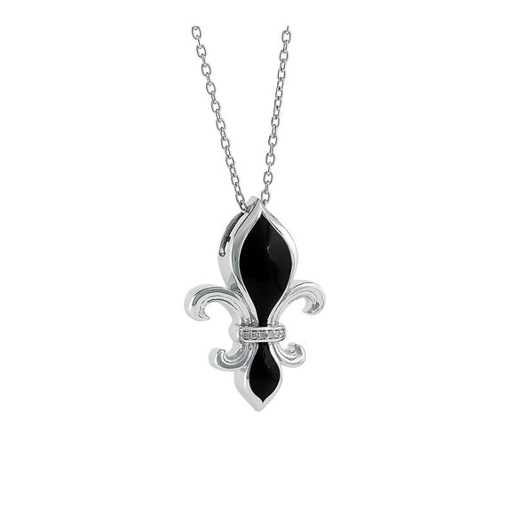 Sterling Silver Black Opaque & Diamond Fleur de lis Pendant