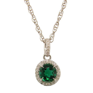 Sterling Silver Emerald & Diamond Pendant