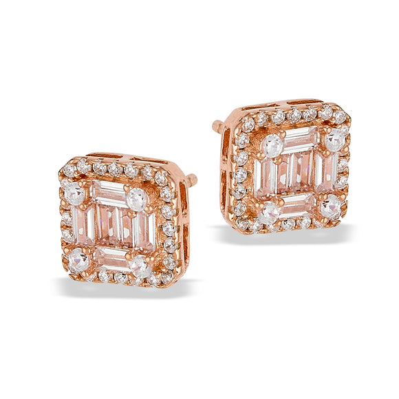 Rose Gold Plated Baguette CZ Stud Earrings