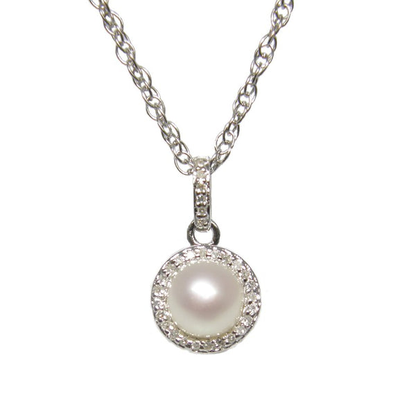 Sterling Silver Pearl & Diamond Pendant