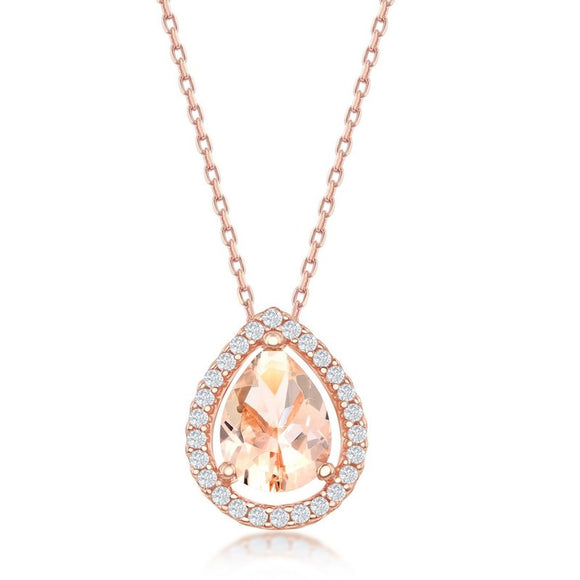 Rose Gold Plated Morganite & CZ Pendant