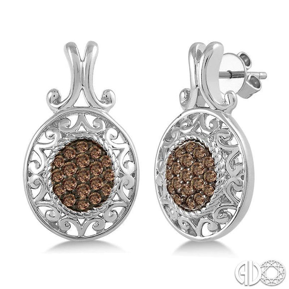 Chocolate Diamond Oval Earrings