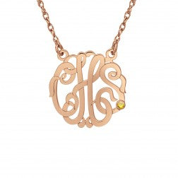 Birthstone Accent Classic Monogram Necklace (20mm)