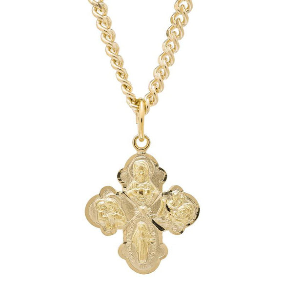 14K Gold-Filled Four Way Medal Pendant