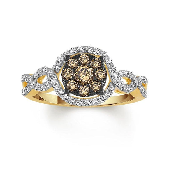 Yellow Gold White & Chocolate Diamond Ring