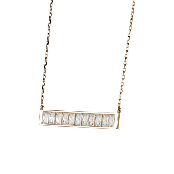 Rose Gold Plated CZ Baguette Bar Necklace