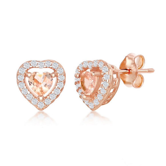 Rose Gold Plated Morganite & CZ Stud Earrings