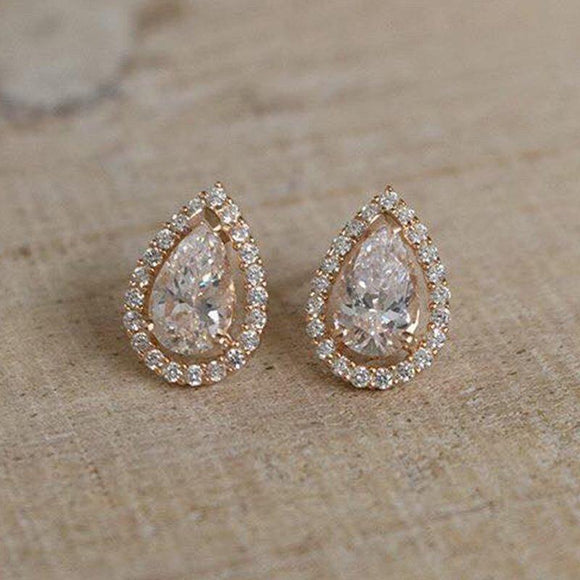 Rose Gold Pear-Shape Stud Earrings